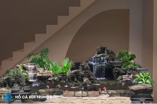 mẫu hồ cá koi hòn non bộ cùng thác nước trong nhà