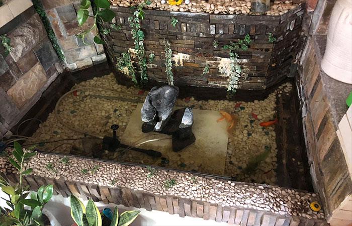 mẫu hồ cá koi mini trong nhà kết hợp đá cuội