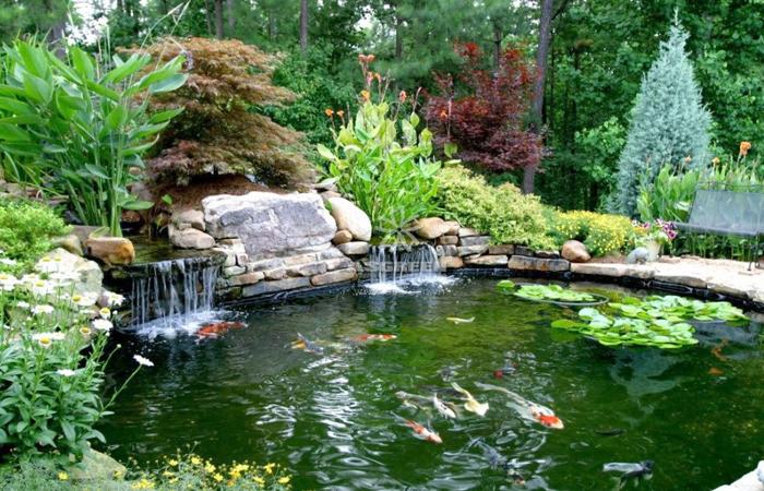 mẫu hồ cá koi sân vườn thác nươc kiểu nhật